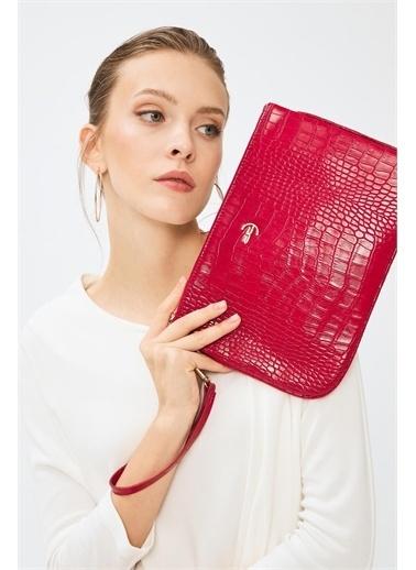 Deri Company Clutch / El Çantası Kırmızı